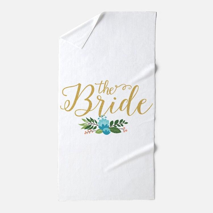 The Bride-Modern Text Design Gold Glit Beach Towel