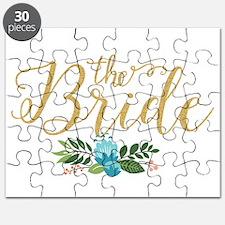 The Bride-Modern Text Design Gold Glitter & Puzzle