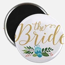 The Bride-Modern Text Design Gold Glitter Magnets