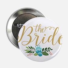 """The Bride-Modern Text Design Gold Gli 2.25"""" Button"""