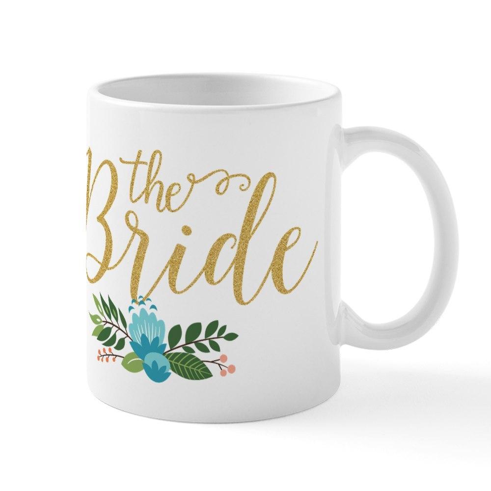 CafePress The Bride-Modern Text Design Gold Glitter Mugs