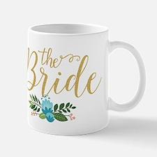 The Bride-Modern Text Design Gold Glitter & F Mugs