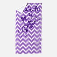 Purple Chevron Butterflies Beach Towel