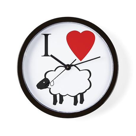 I Heart Sheep Wall Clock