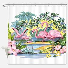 Vintage Flamingo Shower Curtain