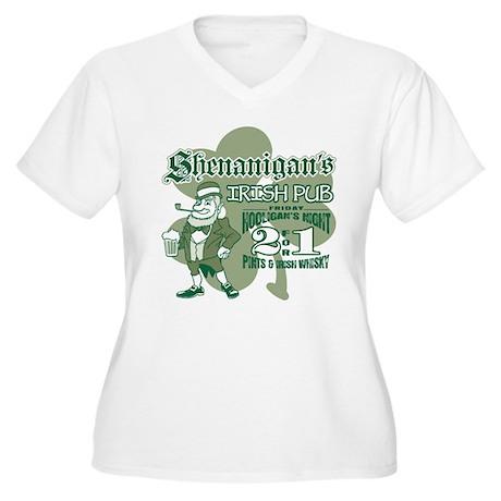 Shenanigan's Irish Pub (light Women's Plus Size V-