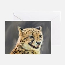 Painting Grinning Cheetah Portrait Greeting Cards