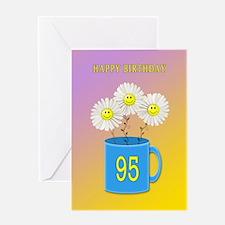 95th birthday, smiling daisy flowers Greeting Card