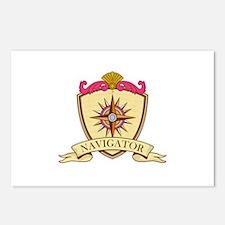 Compass Navigator Coat of Arms Crest Retro Postcar