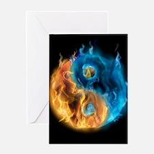 Burning Yin Yang Greeting Card