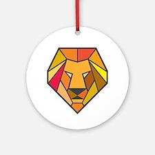 Lion Head Low Polygon Round Ornament