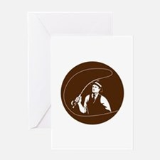 Mobster Gangster Fly Fisherman Circle Retro Greeti