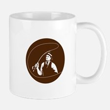 Mobster Gangster Fly Fisherman Circle Retro Mugs