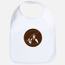 Mobster Gangster Fly Fisherman Circle Retro Bib
