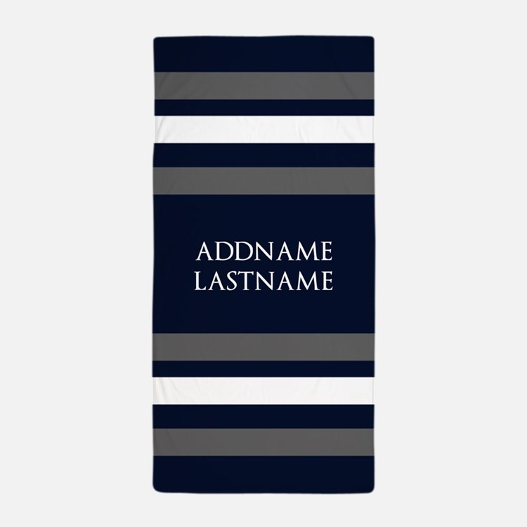 Chic Navy and Silver Stripes Personali Beach Towel