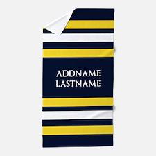 Nautical Blue and Yellow Stripes Beach Towel