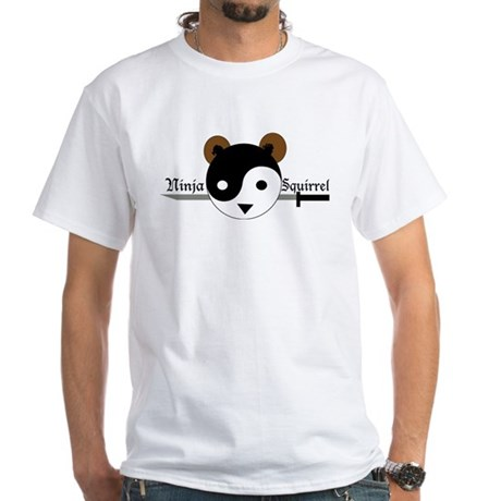 Ninja Squirrel White T-Shirt
