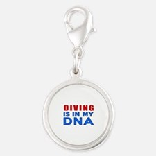 Diving Is In My DNA Silver Round Charm