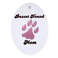 Basset Hound Mom3 Oval Ornament