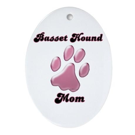 Basset Hound Mom3 Oval Ornament