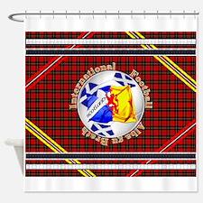 Scotland red tartan football Shower Curtain