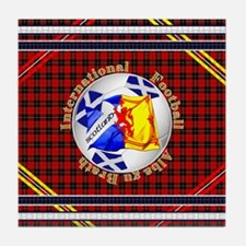 Scotland red tartan football Tile Coaster