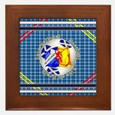 Scotland blue tartan football Framed Tile