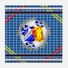 Scotland blue tartan football Tile Coaster