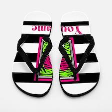 Custom Pink Green Zebra Heart Flip Flops