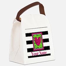 Custom Pink Green Zebra Heart Canvas Lunch Bag