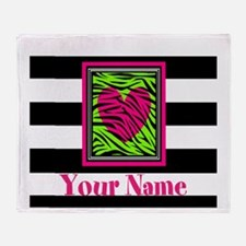Custom Pink Green Zebra Heart Throw Blanket