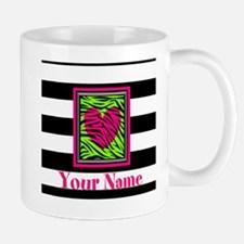 Custom Pink Green Zebra Heart Mugs
