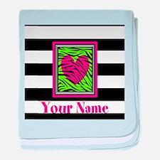 Custom Pink Green Zebra Heart baby blanket