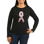 Breast Cancer Ribbon 3 Women's Long Sleeve Dark T-