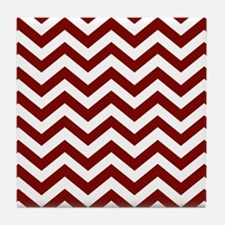 Chevron Zig Zag Pattern: Maroon (Dark Tile Coaster