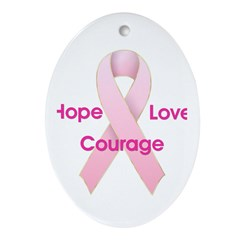Hope Love Courage Oval Ornament