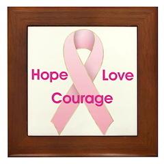 Hope Love Courage Framed Tile