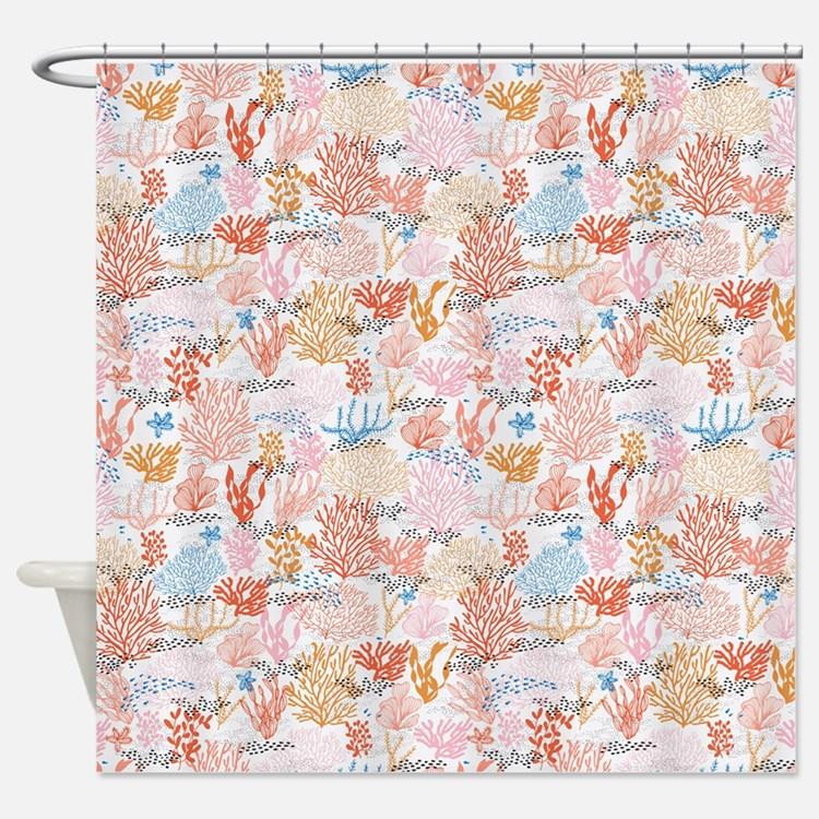 Coral colored shower curtains coral colored fabric shower curtain