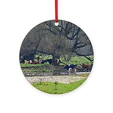 Cows in a Scenic Farm Field Ornament (Round)