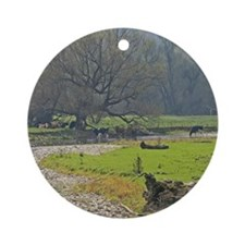 Serene Farm Scene Ornament (Round)