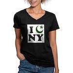 New York City - Islamic Women's V-Neck Dark T-Shir