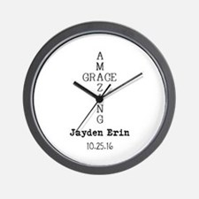 Amazing Grace Cross Custom Personalized Wall Clock