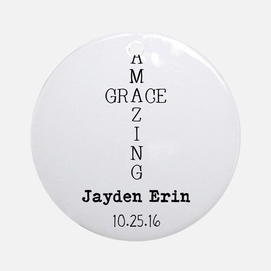 Amazing Grace Cross Custom Personalized Round Orna