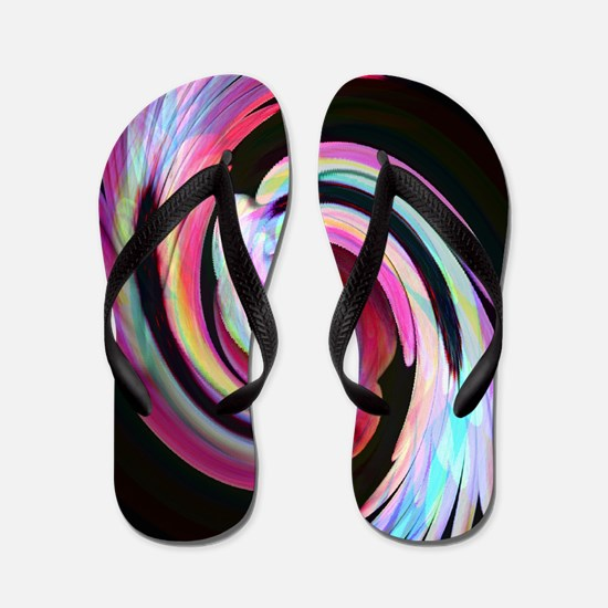 Muted Feather Swirl Flip Flops