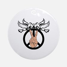 Cute Hand of peace Round Ornament