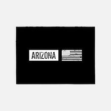 Black & White U.S. Flag: Arizona 5'x7'Area Rug
