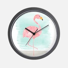 Beach Flamingo Wall Clock
