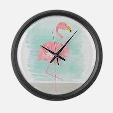 Beach Flamingo Large Wall Clock