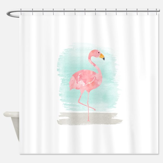 Beach Flamingo Shower Curtain