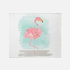 Beach Flamingo Throw Blanket
